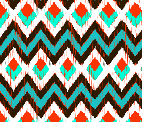 NATIVO - turquoise and mandarin fabric by marcador on Spoonflower - custom fabric