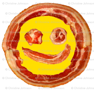 Bacon Face round placemats