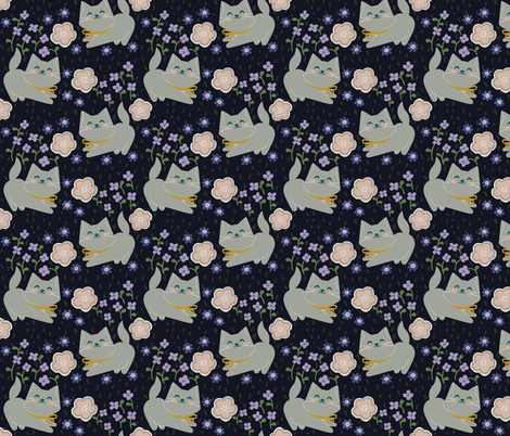 Nighty Night Kittens fabric by thalita_dol on Spoonflower - custom fabric