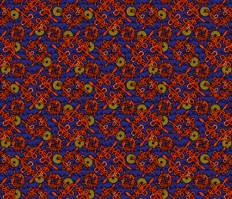 snake_knots_red_w_coins fabric by glimmericks on Spoonflower - custom fabric