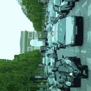 Traffic with Arc de Triomphe