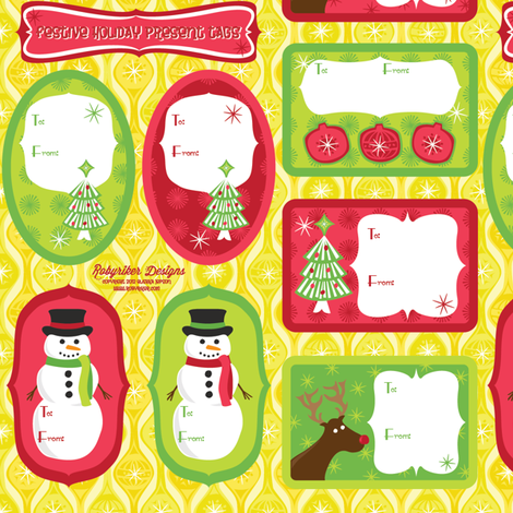 Festive Holiday Present Tags fabric by robyriker on Spoonflower - custom fabric