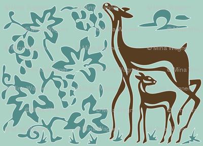 Art & Crafts deer & grapes - vector large - brown-30 minagreen spoonflower-blue-157