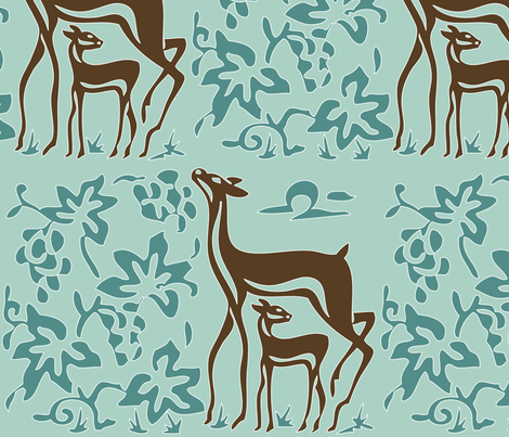 Art & Crafts deer & grapes - vector large - brown-30 minagreen spoonflower-blue-157 fabric by mina on Spoonflower - custom fabric
