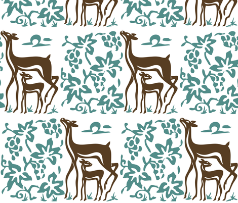 Art & Crafts deer & grapes - vector large - brown-30 minagreen-WHITE fabric by mina on Spoonflower - custom fabric