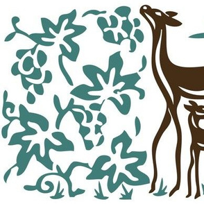 Art & Crafts deer & grapes - vector large - brown-30 minagreen-WHITE