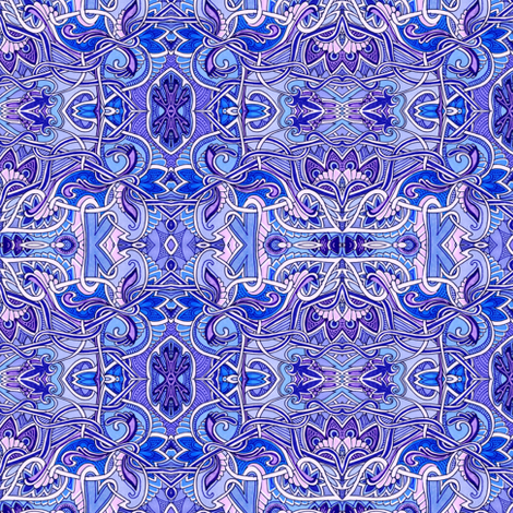 Feminine Edwardian Grace (in blues and violets) fabric by edsel2084 on Spoonflower - custom fabric