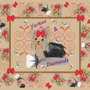 Yorkie Kiss's  & Diamonds Pillow