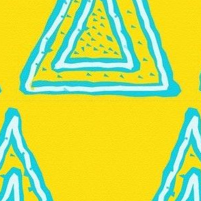 Turquoise Triangles on Bright Yellow