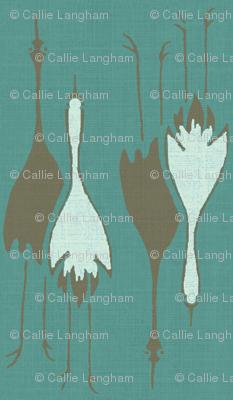 Cranes- teal/brown, light blue