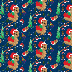Yorkie Christmas Fabric
