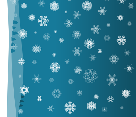 Snowy hills fabric by bubblequartz on Spoonflower - custom fabric