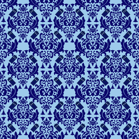 Police Box Damask in Blue- Small scale  fabric by mayabella on Spoonflower - custom fabric