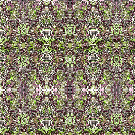 A Dark and Tangled Forest of Pseudo Celtic Knot Scallops and Spades fabric by edsel2084 on Spoonflower - custom fabric