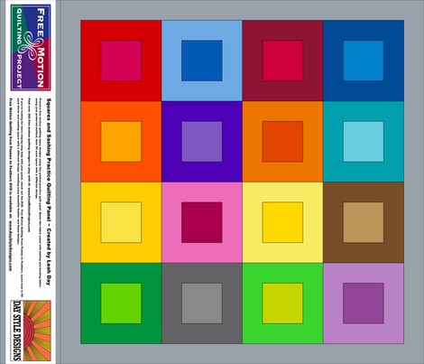 Rainbow Squares and Sashing Free Motion Quilting Cheater Cloth Quilt fabric by leah_day on Spoonflower - custom fabric