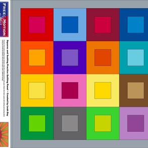Rainbow Squares and Sashing Free Motion Quilting Cheater Cloth Quilt