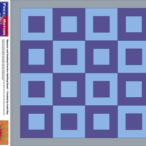 Blue / Purple Squares and Sashing Free Motion Practice Fabric