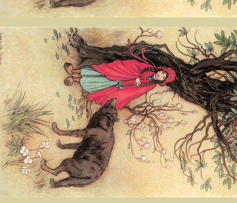 """Red Riding Hood, """" A Child's Book of Stories"""", 1913 fabric by craftyscientists on Spoonflower - custom fabric"""
