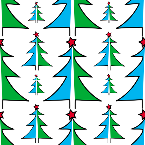 Christmas Trees in Blue and Green fabric by lesrubadesigns on Spoonflower - custom fabric