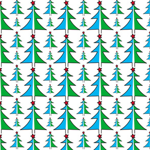 Christmas Trees in Blue and Green
