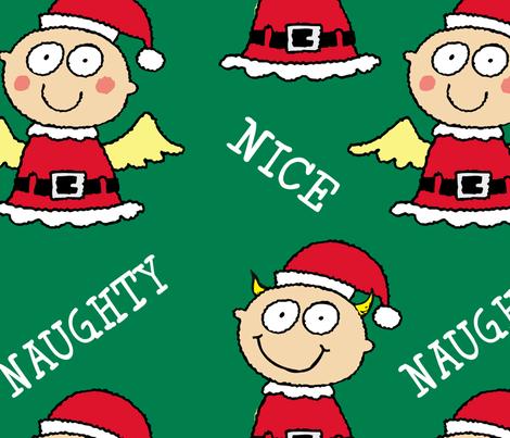Christmas Elves Naughty and Nice fabric by lesrubadesigns on Spoonflower - custom fabric