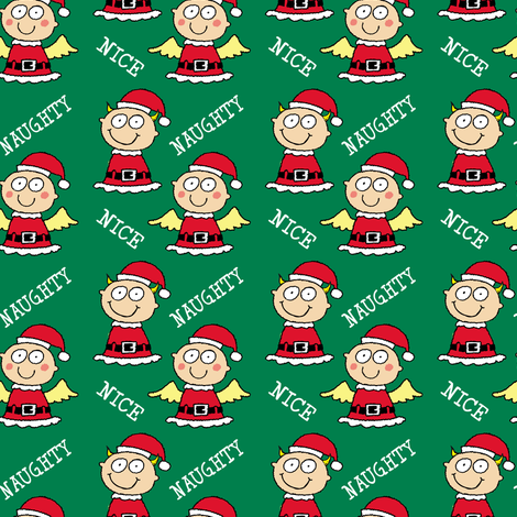 Christmas Elves Naughty and Nice fabric by lesrubadesigns on Spoonflower - custom fabric