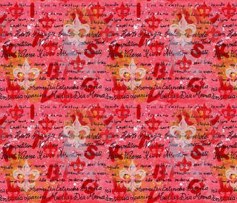 Pink art with writing and Fleur-de-lis fabric by martaharvey on Spoonflower - custom fabric