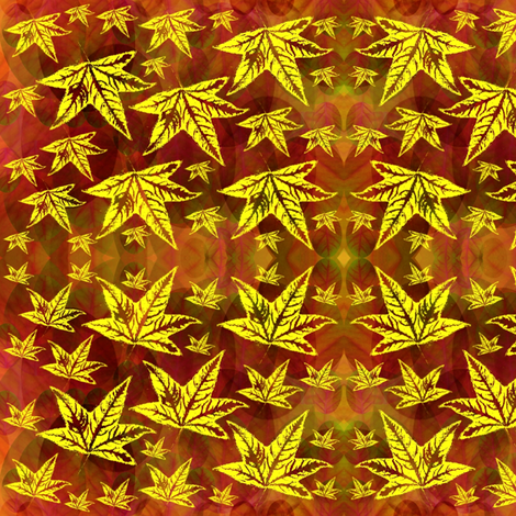 yellow leaves fabric by y-knot_designs on Spoonflower - custom fabric