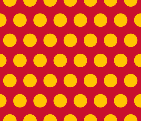 "Polka Dot - Yellow on Red 2"" fabric by juliesfabrics on Spoonflower - custom fabric"