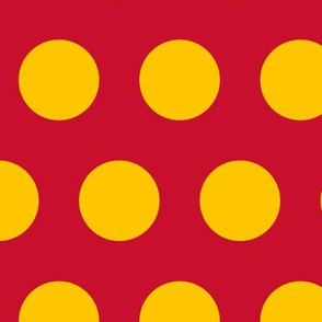 Polka Dot - Yellow on Red 2""