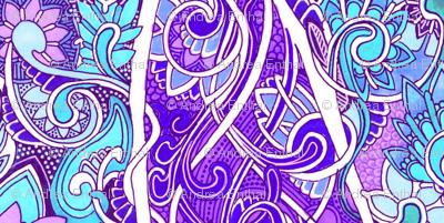 Ye Olde Blue and Lavender Feminine Victorian Vertical Stripe