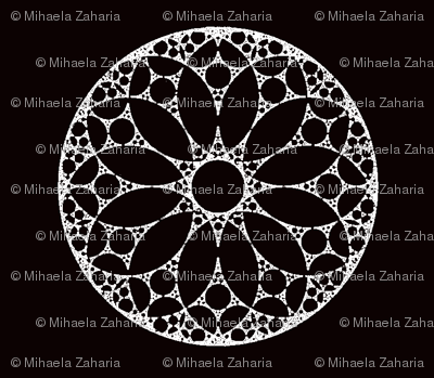 White lace doilies on black background