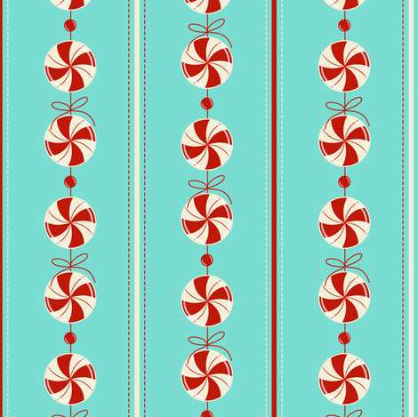 Peppermint Candy Garland Strings ~ icy fabric by retrorudolphs on Spoonflower - custom fabric