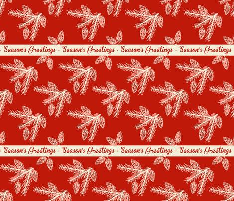 Pine sprays ~ Season's Greetings fabric by retrorudolphs on Spoonflower - custom fabric