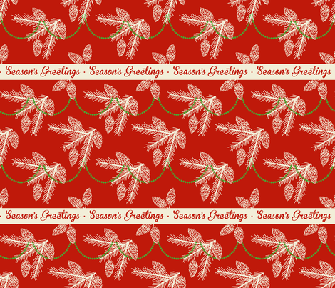 Pine sprays with bead garland ~ Season's Greetings fabric by retrorudolphs on Spoonflower - custom fabric