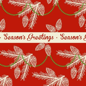 Pine sprays with bead garland ~ Season's Greetings