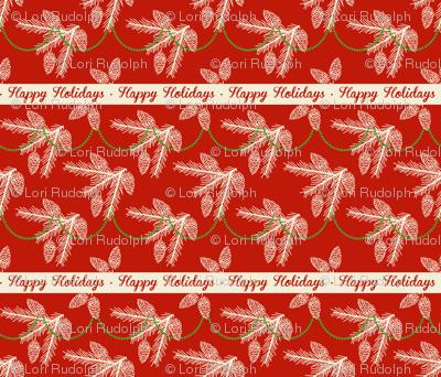 Pine sprays with bead garland ~ Happy Holidays