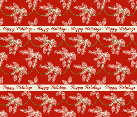 Pine sprays with bead garland ~ Happy Holidays fabric by retrorudolphs on Spoonflower - custom fabric