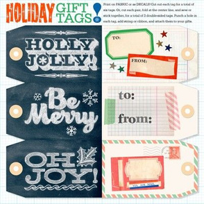 Holiday Gift Tags || christmas presents packages scrapbooking collage cut and sew diy hand lettering chalkboard chalk typography washi tape