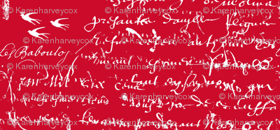 Red and white French script for Love is in the Air