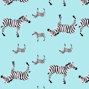 Sleepy Zebras on Aqua