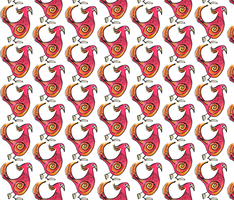 Red Birdie fabric by whimsikate on Spoonflower - custom fabric