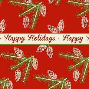 Green pine sprays ~ Happy Holidays