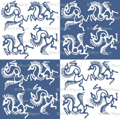 Tjaphorses - white on textured blue - checkerboard