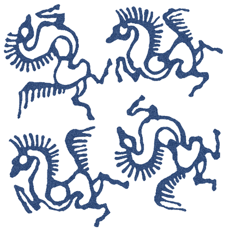 tjaphorses2-stencil-bl-pattern-on-wht fabric by mina on Spoonflower - custom fabric