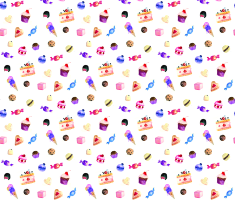 La Dolce Vita Watercolor Sweets and Cakes fabric by caitieillustrates on Spoonflower - custom fabric