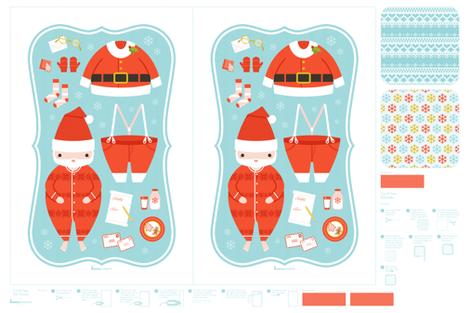 Santa tea towels & potholder fabric by bunnypumpkin on Spoonflower - custom fabric