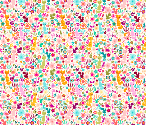 Garden Kitty Spring Glee fabric by creativetaylor on Spoonflower - custom fabric