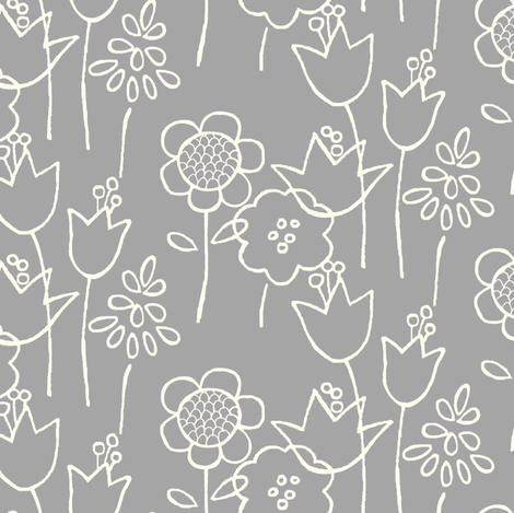 Garden Variety (gray) fabric by leanne on Spoonflower - custom fabric