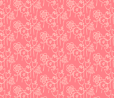 Garden Variety (coral) fabric by leanne on Spoonflower - custom fabric